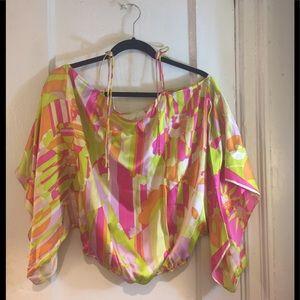 1960/'s Averardo Bessi Polished Cotton Novelty Tunic Fruit Flowers long Sleeve Pucci Inspired blouse Ladies SM
